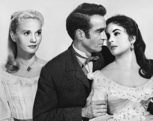 Elizabeth Taylor y Montgomery Clift, junto a Eva Marie Saint en