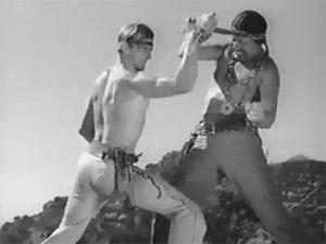 Herman Brix en combate con Monte Blue en el serial