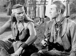 Jeff Chandler en el papel de Cochise junto a James Stewart en