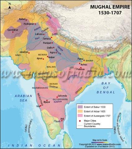 Mapa del imperio de los mogoles en la India