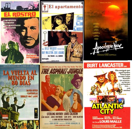 Afiches de El Rostro, El Apartamento, Apocalypse Now, La vuelta al mundo en 80 días, La Jungla de Asfalto y Atlantic City