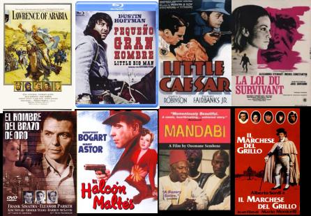 Afiches de Lawrence de Arabia, Pequeño Gran Hombre, Hampa Dorada, la Ley del sobreviviente, El hombre del brazo de oro, El Halcón Maltés, El Giro y El Marqués del Grillo