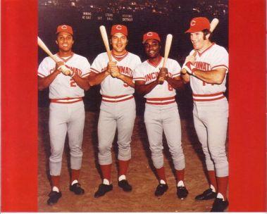 Cuatro estacas del Cincinnati, de izquierda a derecha, Tany Pérez, Johnny Bench, Joe Morgan y PeteRose
