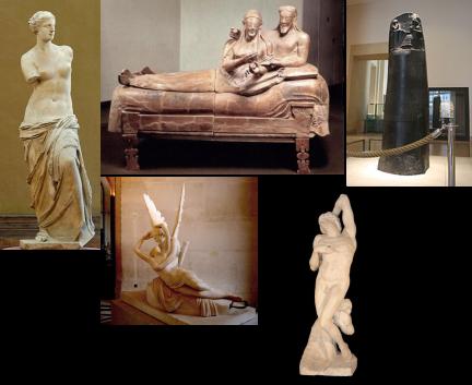 La Venus de Milo, Sarcófago de Cerveteri, Código de Hammurabi, Psique reanimada por el beso del amor, Esclavo Moribundo