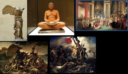 La Victoria Alada de Samotracia, El escriba sentado, La coronación de Napoleón, La balsa de la Medusa,  La Libertad guiando al pueblo