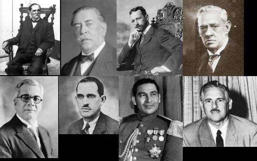 Presidentes cubanos electos Estrada Palma, José M. Gómez, García Menocal, Zayas, Machado, Grau San Martín, Batista y Prío Socarrás