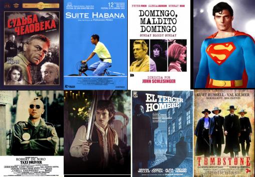 Afiches de El destino de un hombre, Suite Habana, Domingo-Maldito Domingo, Superman, Taxi Driver, El Señor de los Anillos, El tercer hombre, Tombstone-la leyenda de Wyatt Earp