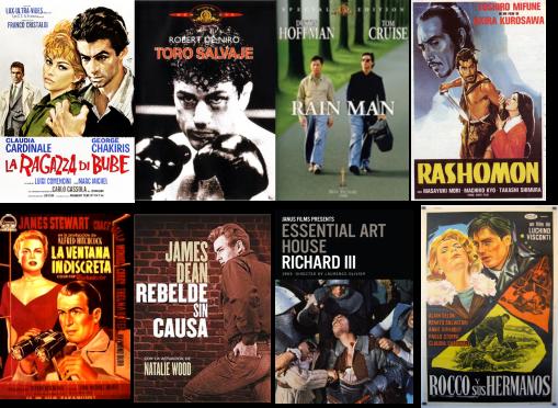 Afiches de La chica de Bube, Toro Salvaje, Rain Man, Rashomon, La ventana indiscreta, Rebelde sin causa, Richard III, Rocco y sus hermanos