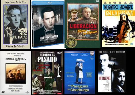 Afiches de Nido de ratas, Érase una vez en América, Liberación, Nuestro hombre en la Habana, Memorias de África, Retorno al pasado, Los paraguas de Cherburgo, Philadelphia