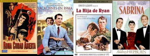 Afiches de Roma ciudad abierta, Vacaciones en Roma, La hija de Ryan, Sabrina