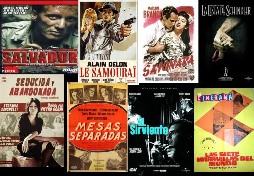Afiches de Salvador, El samurái, Sayonara, La lista de schindler, Seducida y abandonada, Mesas Separadas, El sirviente, Las siete maravillas del mundo