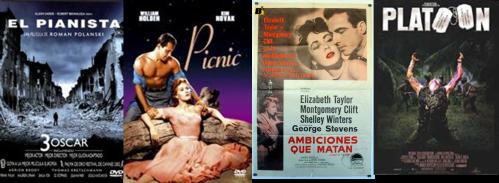 Afiches El Pianista, Picnic, Ambiciones que matan, Platoon