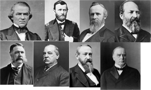Andrew Johnson-Ulysses S. Grant-Rutherford B. Hayes-James Abraham Garfield-Chester A. Arthur-Benjamin Harrison-Grover Cleveland-William McKinley