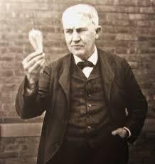 Edison con su nueva lámpara incandescente