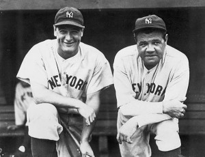 New York Yankees Lou Gehrig and Babe Ruth - 1932.Baseball.