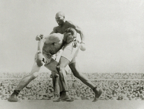Jack Johnson y James Jeffries en pelea de 1910