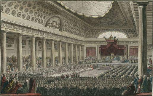 Gran Sala de Versalles y la Asamblea Constituyente en setiembre de 1789