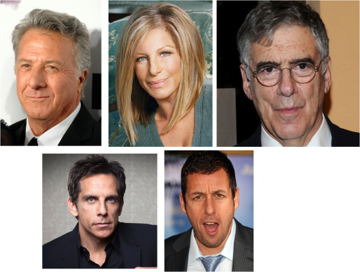 Dustin Hoffman, Barbra Streisand, Elliott Gould, Ben Stiller y Adam Sandler casi siempre en papeles judíos en el cine