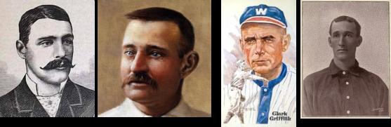 Lanzadores-pioneros de la screwball Fred Goldsmith, Charles Radbourn, Clark Griffith y Ned Garvin