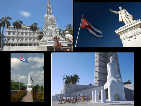 Monumentos a Martí en el Parque Central de la Habana, en Cienfuegos, en Dos Ríos y en la Plaza de la Revolución en la Habana