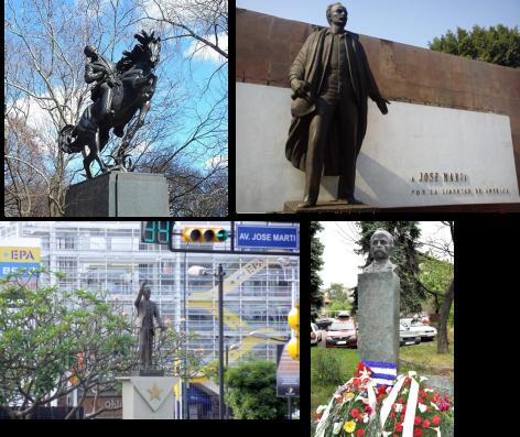 Monumentos a Martí en el Parque Central de Nueva York, en Ciudad México, en Chacaito, Caracas y en Cayo Hueso, EE.UU.