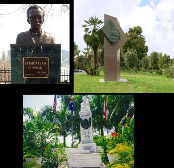 Monumentos a Martí en Nueva York, Roma y Cayo Hueso