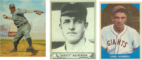 Tres ases de la screwball Rube Foster, Christy Mathewson y Carl Hubbell