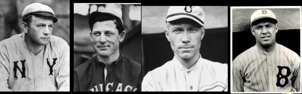 Primeros lanzadores de bola modificada Jack Chesbro, Ed Walsh, Eddie Cicotte y Burleigh Grimes