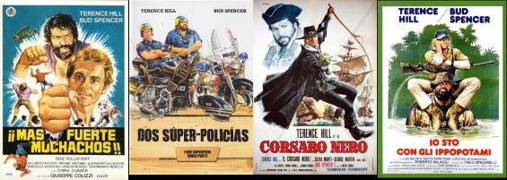 Afiches de algunas pelis de Bud Spencer y Terence Hill