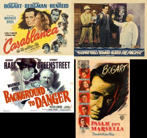 Afiches de películas de Greenstreet o Lorre o ambos con Humphrey Bogart