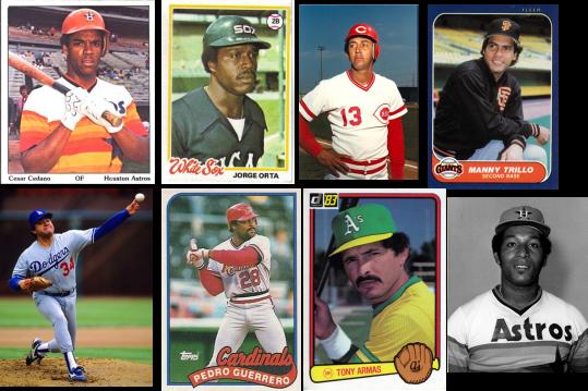 César Cedeño, Jorge Orta, David Concepción, Manny Trillo, Fernando Valenzuela, Pedro Guerrero, Tony Armas y Joaquín Andújar