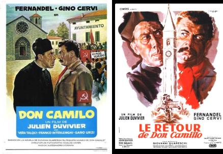 Afiches de las dos películas de Don Camilo dirigidas por Julie Duvivier