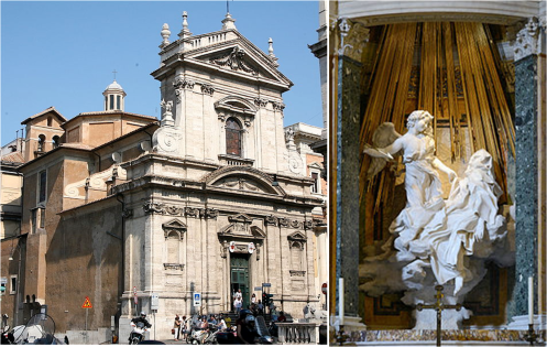 a-la-derecha-la-basilica-santa-maria-della-vittoria-en-roma-en-cuya-capilla-cornaro-aparece-la-escultura-extasis-de-santa-teresa-1647-1652