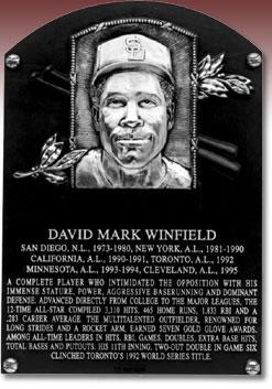 Placa de Dave Winfield en el Salón de la Fama