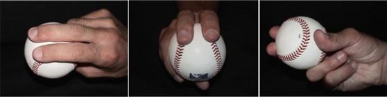 Agarre de la pelota para lanzar la recta de dos costuras