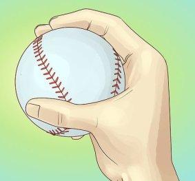 El agarre de la pelota para lanzar la sinker