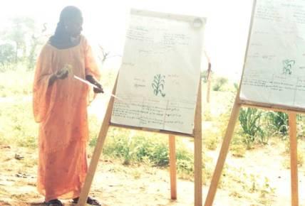 Una mujer agricultora explica sobre el comport