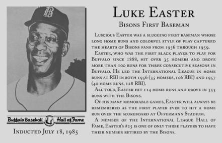 Placa a Luke Easter en Salón de la Fama de los Bisontes de Buffalo