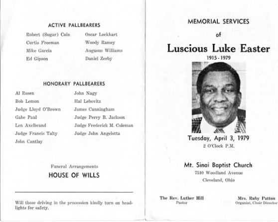 program from Luke Easter's memorial service