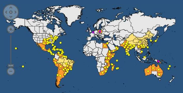 Distribución global de Parthenium hysterophorus