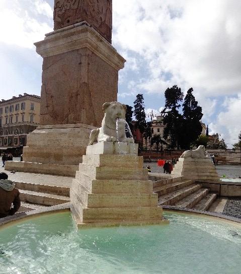 La fuente del León en Piazza Popolo