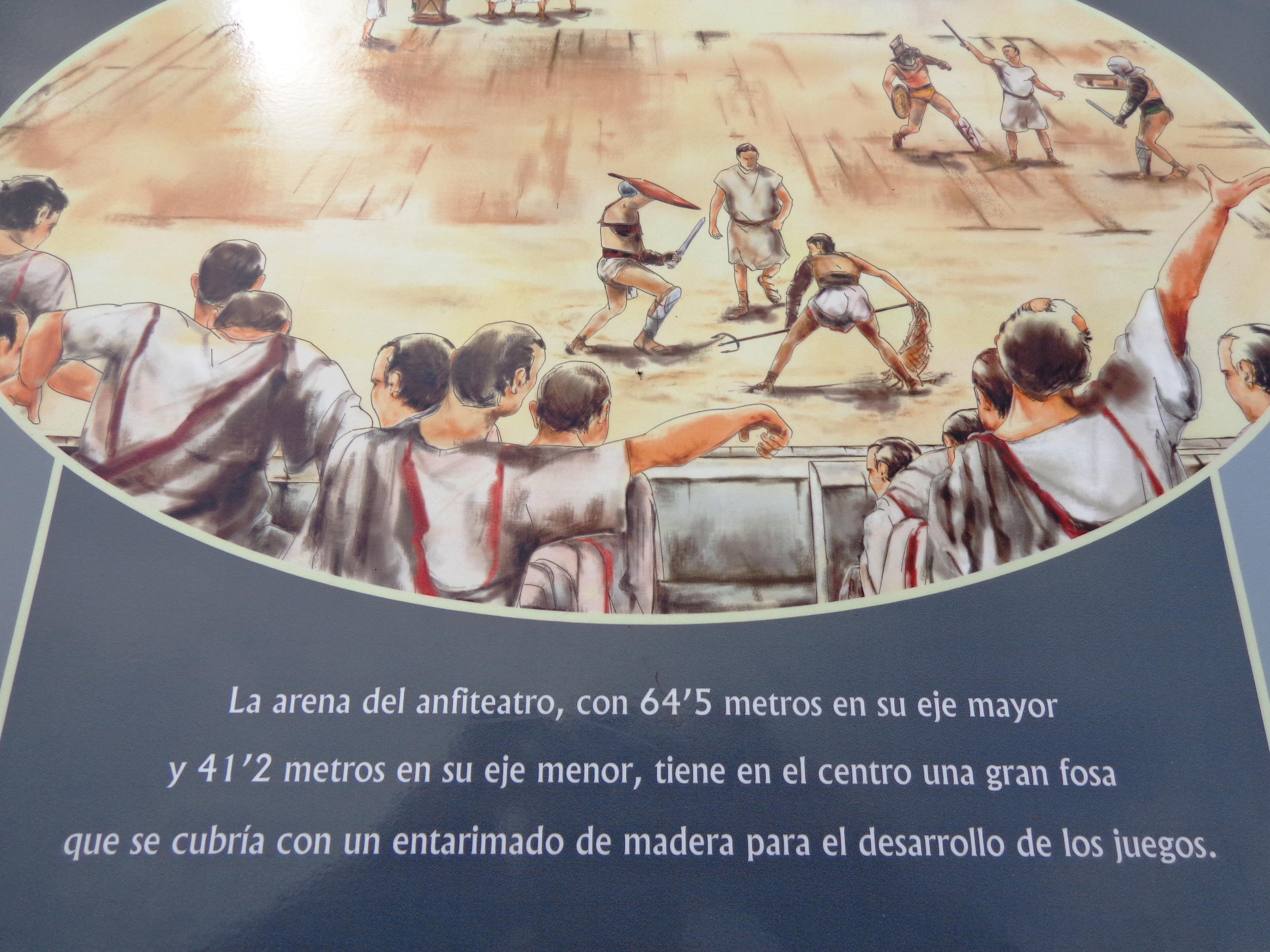 Explicación arena de anfiteatro romano en Mérida