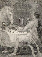 Calígula cena con su caballo, Incitatus